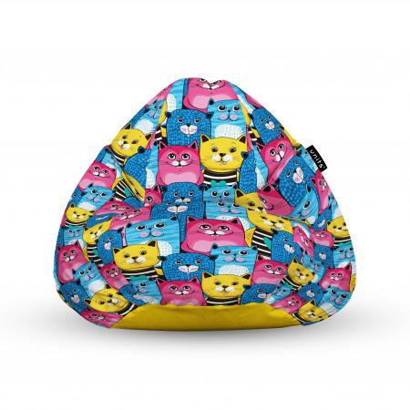 Fotoliu Units Puf (Bean Bags) tip para, impermeabil, cu maner, 100x80x70 cm, smiley cats