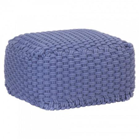 Puf tricotat manual, albastru, 50x50x30 cm, bumbac