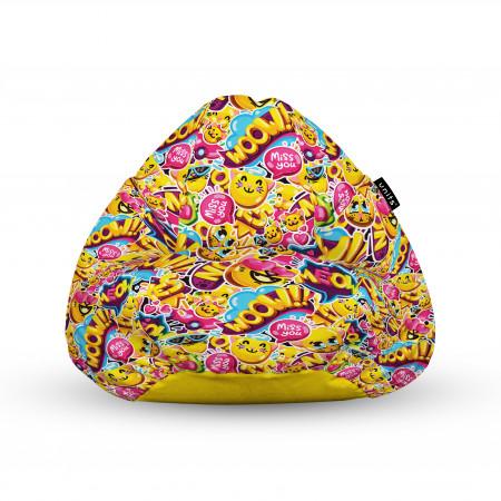 Fotoliu Units Puf (Bean Bags) tip para, impermeabil, cu maner, 100x80x70 cm, emoji pisici