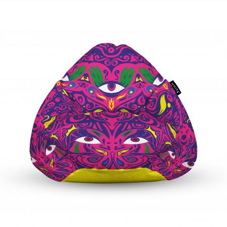 Fotoliu Units Puf (Bean Bags) tip para, impermeabil, cu maner, psihedelic