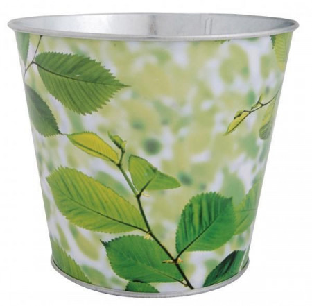 Ghiveci metalic verde-model frunze