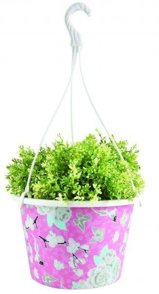Ghiveci suspendabil din plastic cu motiv floral