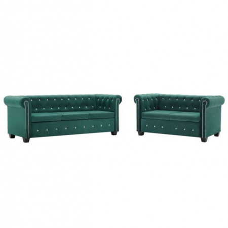 Set canapele Chesterfield 2 piese, tapiterie catifea, verde