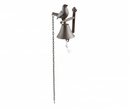 "Sonerie clopotel intrare din fonta maro ""Bird"""
