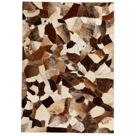 Covor petice diverse piele naturala 80 x 150 cm maro/alb