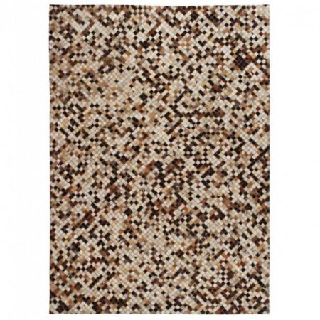 Covor piele naturala, din petice, 160x230cm, patrate, maro/alb