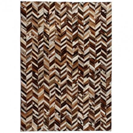 Covor piele naturala, mozaic, 120x170 cm zig-zag Maro/alb