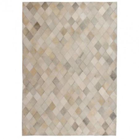 Covor piele naturala, mozaic, 160x230 cm Romburi Gri