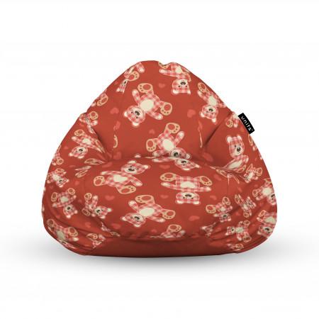 Fotoliu Units Puf (Bean Bags) tip para, impermeabil, cu maner, 100x80x70 cm, teddy bear caramiziu