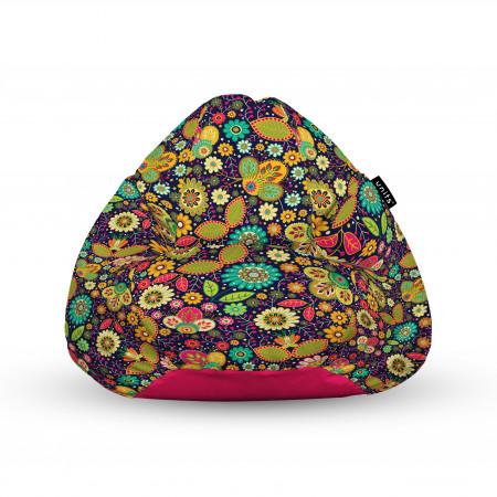Fotoliu Units Puf (Bean Bags) tip para, impermeabil, cu maner, 100x80x70 cm, flowers hippie