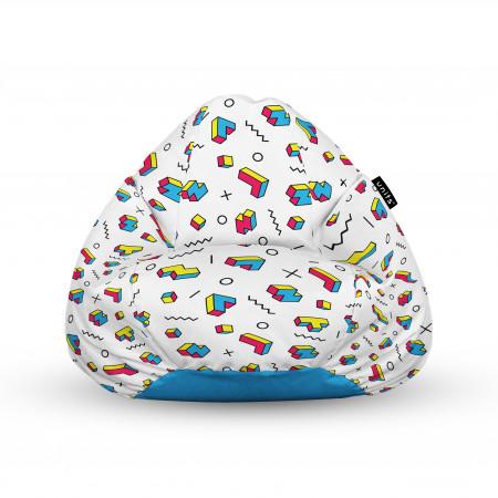 Fotoliu Units Puf (Bean Bags) tip para, impermeabil, cu maner, 100x80x70 cm, memphis tetris