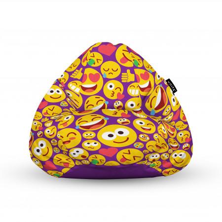 Fotoliu Units Puf (Bean Bags) tip para, impermeabil, cu maner, 100x80x70 cm, emoji