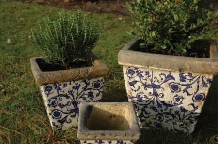 Set ghivece albastre cu motiv floral din ceramica-3 piese Fleurs Bleues