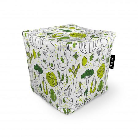 Fotoliu Units Puf (Bean Bags) tip cub, impermeabil, alb cu legume verzi