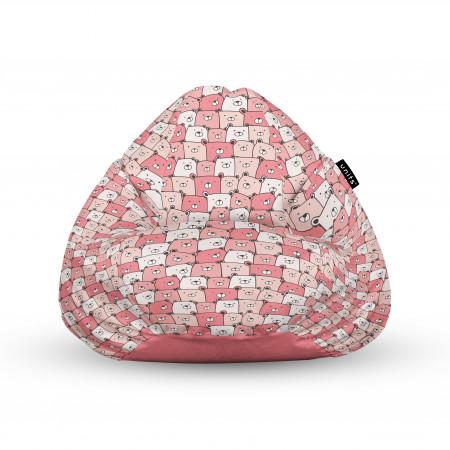 Fotoliu Units Puf (Bean Bags) tip para, impermeabil, cu maner, 100x80x70 cm, ursuleti roz