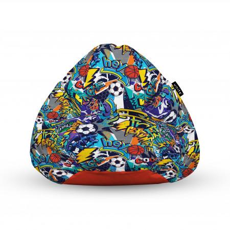 Fotoliu Units Puf (Bean Bags) tip para, impermeabil, cu maner, 100x80x70 cm, graffiti sport