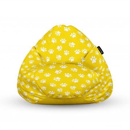 Fotoliu Units Puf (Bean Bags) tip para, impermeabil, cu maner, 100x80x70 cm, labute pisica fundal galben