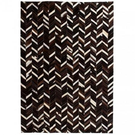 Covor piele naturala, mozaic, 190x290 cm Zig-zag Negru/alb