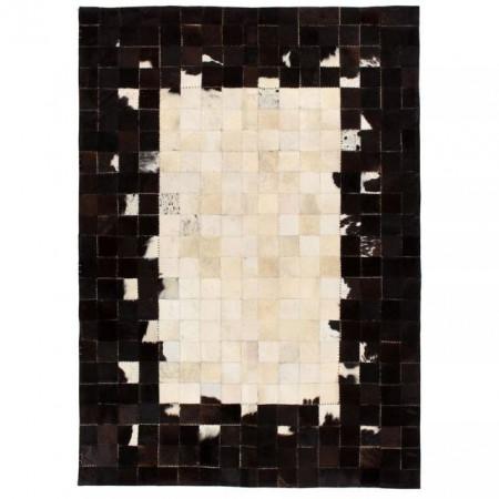 Covor piele naturala, mozaic, 80x150 cm Patrate Negru/alb