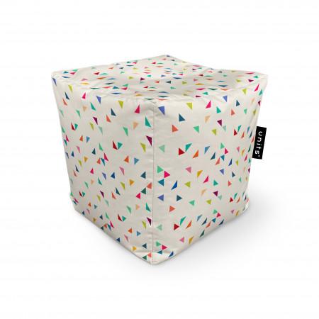 Fotoliu Units Puf (Bean Bags) tip cub, impermeabil, bej cu triunghiuri multicolore