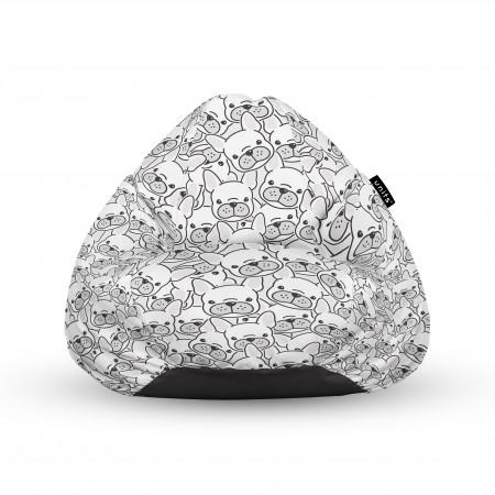 Fotoliu Units Puf (Bean Bags) tip para, impermeabil, cu maner, 100x80x70 cm, frenchies albi