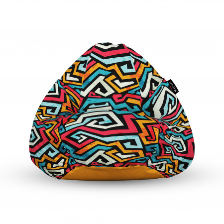 Fotoliu Units Puf (Bean Bags) tip para, impermeabil, cu maner, 100x80x70 cm, graffiti linii retro