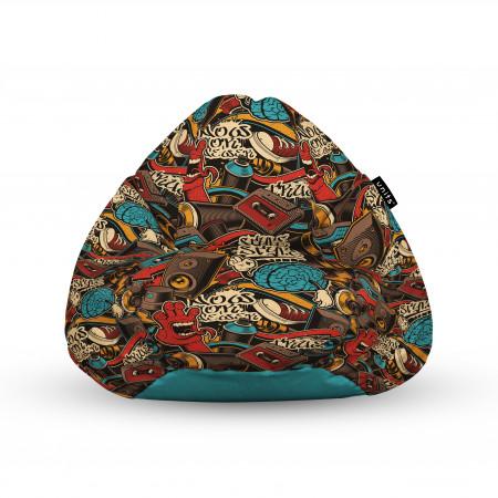 Fotoliu Units Puf (Bean Bags) tip para, impermeabil, cu maner, 100x80x70 cm, graffiti retro maro