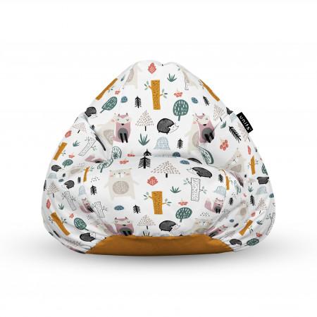 Fotoliu Units Puf (Bean Bags) tip para, impermeabil, cu maner, 100x80x70 cm, arici si vulpe alb