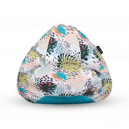 Fotoliu Units Puf (Bean Bags) tip para, impermeabil, cu maner, frunze multicolore