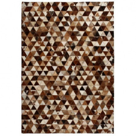 Covor piele naturala, mozaic, 80x150 cm Triunghiuri Maro/alb