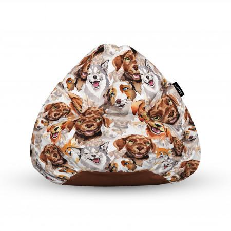Fotoliu Units Puf (Bean Bags) tip para, impermeabil, cu maner, 100x80x70 cm, caini clasici maro si alb