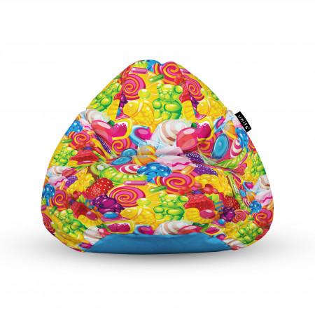 Fotoliu Units Puf (Bean Bags) tip para, impermeabil, cu maner, 100x80x70 cm, fruits candy