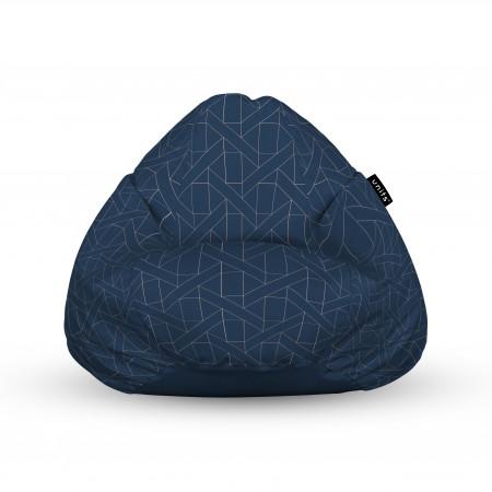 Fotoliu Units Puf (Bean Bags) tip para, impermeabil, cu maner, albastru inchis si linii bej