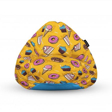 Fotoliu Units Puf (Bean Bags) tip para, impermeabil, cu maner, 100x80x70 cm, cake and ice-cream