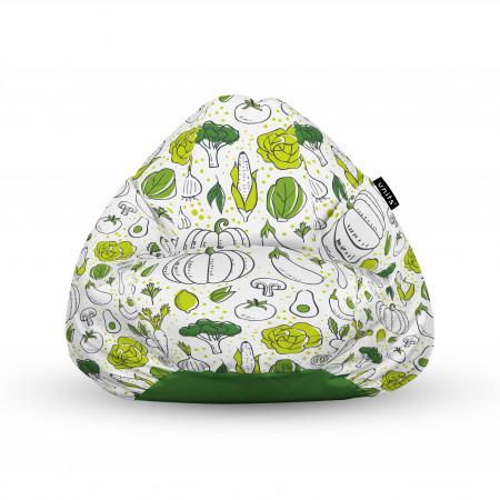 Fotoliu Units Puf (Bean Bags) tip para, impermeabil, cu maner, alb cu legume verzi