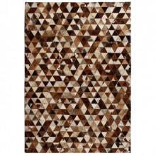 Covor piele naturala, mozaic, 120x170 cm Triunghiuri Maro/alb