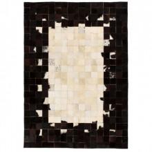 Covor piele naturala, mozaic, 160x230 cm Patrate Negru/alb