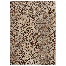 Covor piele naturala, mozaic, 80x150 cm, patrat, maro/alb