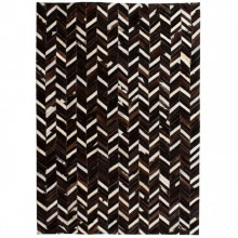 Covor piele naturala, mozaic, 80x150 cm zig-zag Negru/Alb