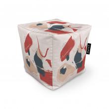 Fotoliu Units Puf (Bean Bags) tip cub, impermeabil, bej cu model rosu si gri