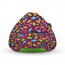 Fotoliu Units Puf (Bean Bags) tip para, impermeabil, cu maner, 100x80x70 cm, candies fundal mov