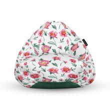 Fotoliu Units Puf (Bean Bags) tip para, impermeabil, cu maner, alb cu flori rosii