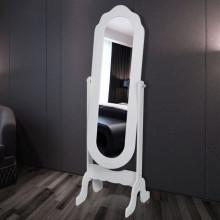 Oglinda de podea cu suport Alb Reglabila