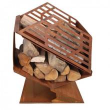Semineu de exterior cu depozitare lemne
