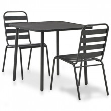 Set mobilier bistro, 3 piese, gri inchis, otel