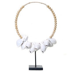 The White Cowrie Necklace Natural Wood on Stand, Bazar Bizar,