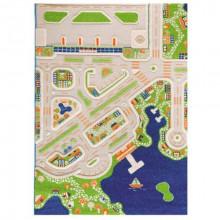 Covor copii 3D interactiv Orasul la mare cu aeroport 134x180cm