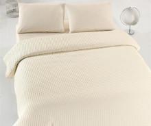 Cuvertura de pat ecru pique din bumbac 100% 220*240cm