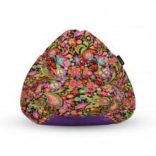 Fotoliu Units Puf (Bean Bags) tip para, impermeabil, cu maner, 100x80x70 cm, hippie peace
