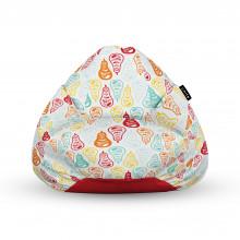Fotoliu Units Puf (Bean Bags) tip para, impermeabil, cu maner, alb cu pere multicolore
